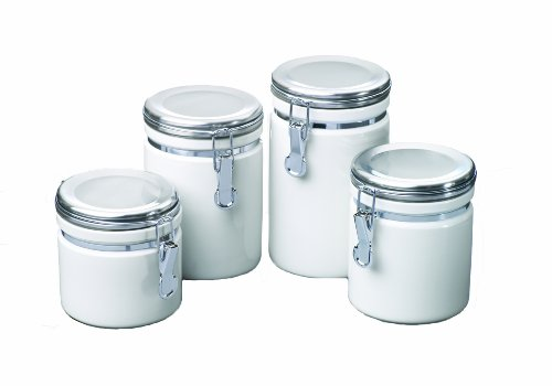 Anchor Hocking 4-Piece Ceramic Canister Set with Clamp Top Lid, White
