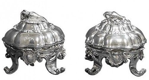 ODIOT STERLING SILVER VEGETABLE DISHES COVERED C.1890 FIGURAL REALISTIC 3D