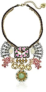 "Betsey Johnson ""Vintage"" Floral Buckle Necklace, 14.0''"