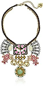 Betsey Johnson Women's Vintage Buckle Flower Frontal Necklace Rose Strand Necklace