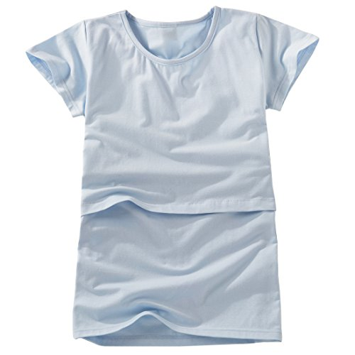 Nursingwear for breastfeeding in Organic Cotton,short Sleeves Top (M, Blue)