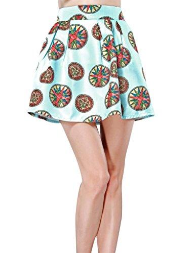 Elf Sack Womens Summer Skirt Short Popular Printing Retro Dots Pattern Large Size Blue