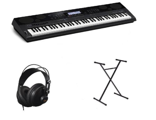 Casio Wk7500 Workstation 76 Key Portable Keyboard, Stand, Cad Mh110 Headphones