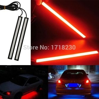 Bikers World Red Waterproof Ultra Thin Cob Chip Led DRL Fog Light Lamp Daytime Ruining Light 17 cm For All Cars