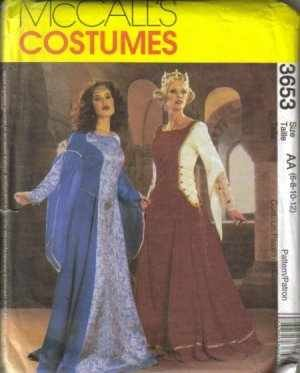Mccall's Costumes Sewing Pattern #3653 Misses Renaissance/Camelot Costume Misses size EE: 14, 16, 18 & 20