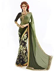 Inddus Exclusive Black & Green Colored Georgette Printed Saree