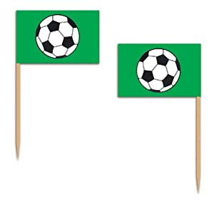Football Soccer Party Flag Picks Pkt 50