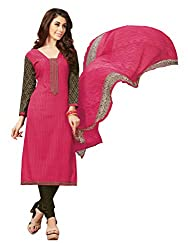 Women Icon Presents Pink Embroidered Un-Stitched Dress Material WICKFBRCZB1002