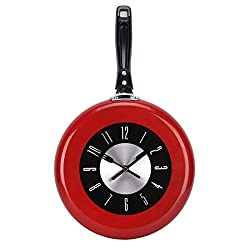 UNIQUEBELLA Modern Design 10inch Metal Frying Pan Kitchen Wall Clock Home Decor Red