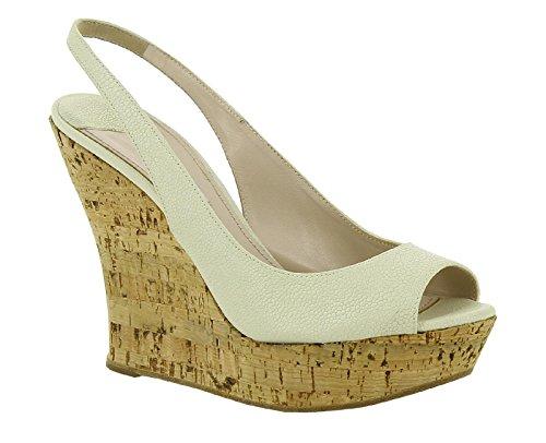 Sandali zeppa spuntati Miu Miu in pelle bianco sporco - Codice modello: 5XZ157 3OT3 F0354 - Taglia: 39.5 IT