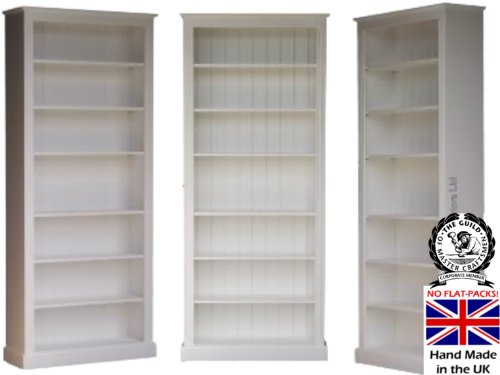 Pine Bookcase; 7ft Tall x 3ft Wide Fully White Painted SOLID PINE Shelving Unit with Adjustable Shelves. No M.D.F! NOT A FLAT-PACK! BUT A FULLY ASSEMBLED, HAND-CRAFTED PIECE OF PINE FURNITURE