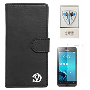 VanGoddy Premium Self Stand Mary Wallet Flip Book Cover Case for Asus Zenfone 5 (Black) + Stereo Headset With Remote and Mic + Matte Screen