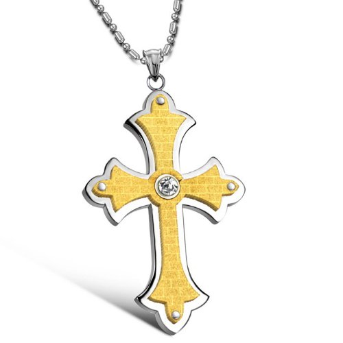 Opk Jewellery Neckwear Dull Polish With Rhinestone Silver And Gold Plated Fine Classic Cross Pendant Necklets,Men's Necklace