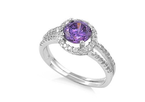 Sterling Silver Woman's Purple CZ Halo Ring Unique 925 Band 11mm Size 10