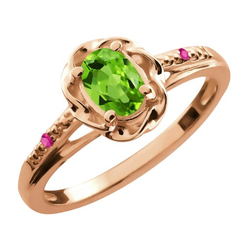 0.52 Ct Oval Green Peridot Pink Sapphire 18K Rose Gold Ring