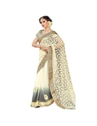 De Marca Cream::Grey Georgette::Net Designer Sher206 Saree