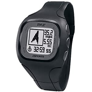 Pyle-Sports PSWGP405BK GPS Watch with Heart Rate Transmission, Navigation, Speed, Distance, Workout Memory, Compass, PC Link (Black)