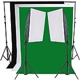 RPGT� Hintergrundsystem 2 x 2,8m mit Hintergrundstoff weiss wei� Gr�n Schwarz Screen 1,6 x 3 m Fotolampe Stativ Softbox Set