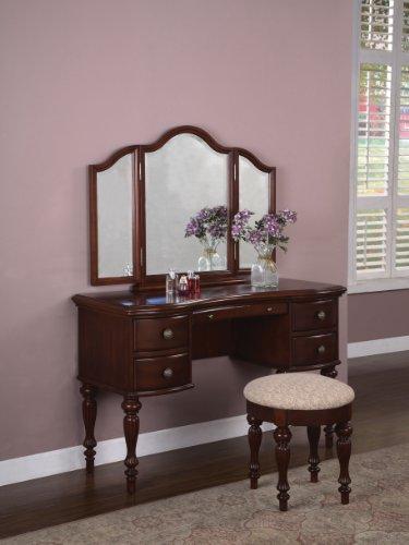 Powell 508-290 Marquis Cherry Mirror Bench Bedroom Vanity