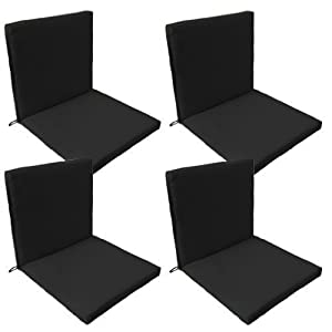 Shopisfy Outdoor Water Resistant Chair Two Part Back And Seat Pads With Ties And Elasticated Holder   Black   Pack Of 4       review and more information