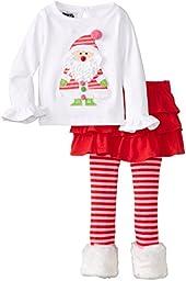 Mud Pie Little Girls\' Santa Baby Skirt Set, Pink, 5T