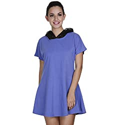 Meiro High Quality Women's Cotton lycra short dress with fashion hood (15144_Lavender_XX-Large), designed in New York