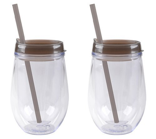 Insulated Wine Glass With Straw front-458563