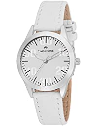 Swisstone VOGLR511-WHITE White Dial White Leather Strap Wrist Watch For Women/Girls