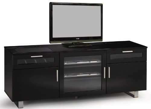 Cheap TV Stand Console in High Gloss Black Finish (VF_700672)
