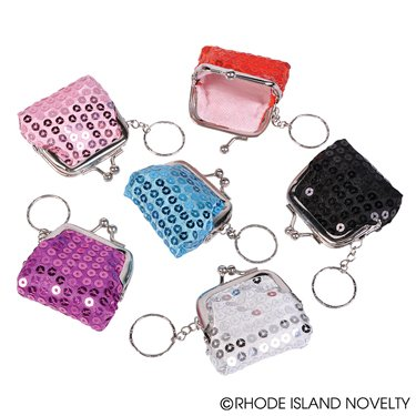 "6 Sparkly BLING COIN Purses with KEY CHAIN Attached 2.5"" Sequin GIRL/DIVA PARTY FAVORS"