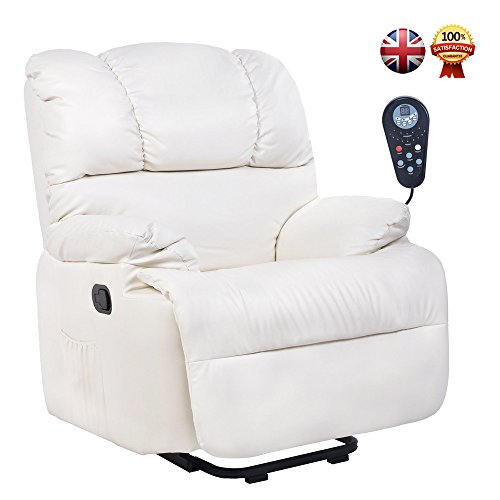 Grand Challenger ELECTRIC SYNTHETIC LEATHER AUTOMATIC MASSAGE CHAIR RECLINER ARMCHAIR SOFA HOME LOUNGE CHAIR NEW Cream