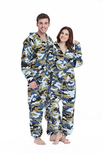 Xmas Sky Women's & Men's Hooded Fleece Onesie Pajamas Navy Camo Size US S (Bunny Onesies For Adults)