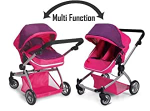 Amazon.com: Deluxe Twin Doll Pram/Stroller -Pink: Toys & Games