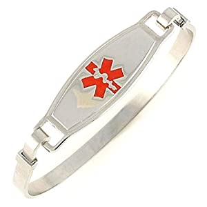 N Style Red Stainless Steel Bangle Medical Bracelet by Walt