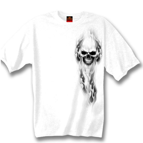 Hot Leathers Ghost Skull Double Sided T-Shirt (White, XX-Large)