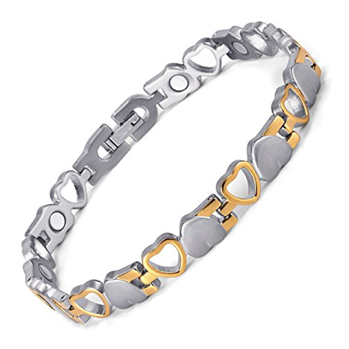 Rainso Womens Heart Design Magnetic Therapy Health Bracelet With Silver Gold Plated In Gift Bag + Free Link Removal Tool