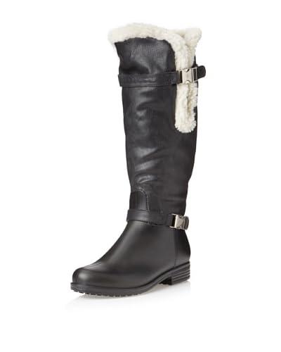 däv Women's Faux Shearling Cuff Solid Rain Boot  - Black