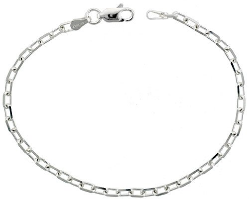 Sterling Silver Italian Diamond Cut Cable Chain Nickel Free, 3mm wide, size 10 inch Anklet