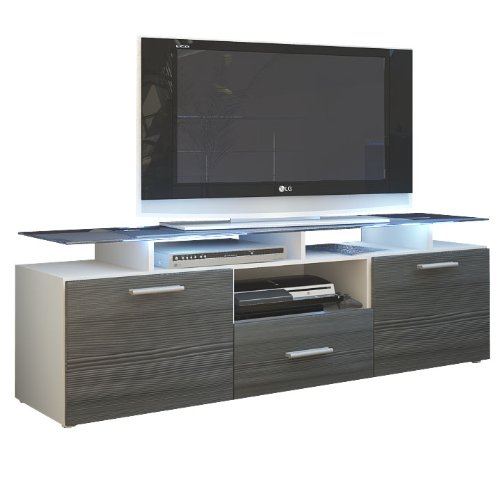 Tablette meuble tv bas armoire basse almada en blanc avola anthracite meil - Meuble tv anthracite ...