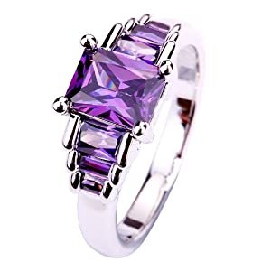 Yazilind Women's Ring with M*T1/2mm Emerald Cut Purple Amethyst Gemstone Silver UK Size O Christmas Gift Wedding Party