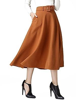 Choies Women's Woolen Brown Vintage High Waist Flared Swing Midi Skirt with Belt M