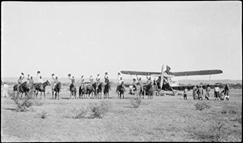 POSTER Aborigines stockmen horseback front de Havilland DH61 Giant Moth biplane airliner G-AUHW 'Canberra' wave goodbye Les Holden crew Flora Valley Western Australia 23 April 1929. Australia Wall Art Print A3 replica