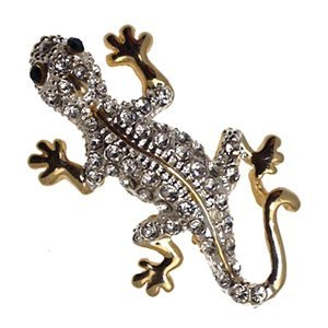 FORMENTERA Gold Plated Crystal Lizard Brooch