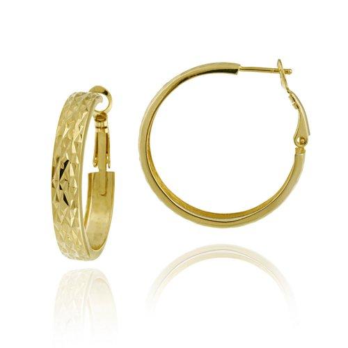 18k Yellow Gold Plated Sterling Silver Diamond-Cut 6x40 Clutchless Flex Hoop Earrings