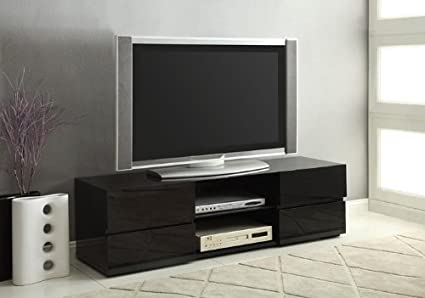 Coaster High Gloss Black TV Stand with Glass Shelf