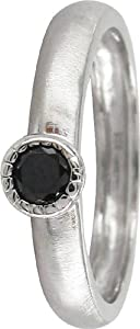 Stack Ring Co, Pluto, Sterling Silver Round Black Cubic Zirconia Prima Stack Ring Design - Size M