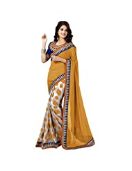 De Marca Orange::Grey Georgette::Viscose Designer MAL1117 Saree