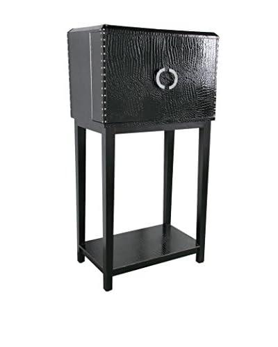 Evergreen Traveler's Wine Cabinet, Black/Silver