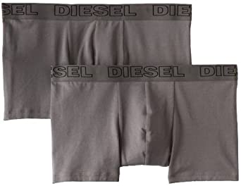 Diesel Men's Shawn 2-Pack Cotton Stretch Boxer Brief, Grey, Small