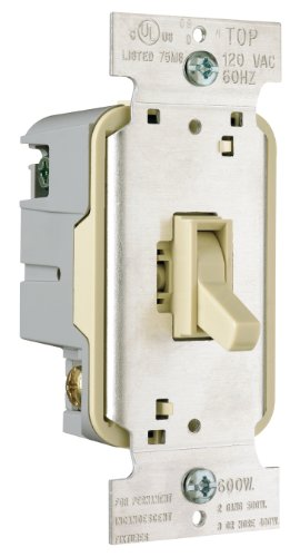 Pass & Seymour T600IV Toggle Dimmer 600-watt Single Pole Easy Install, Ivory (Fan And Light Dimmer Switch Ivory compare prices)